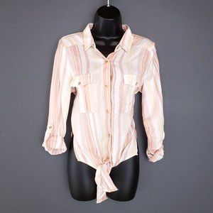 NWT THREAD SUPPLY Linen Blouse Striped Top Tie Up Cream Relaxed Fit Size Small